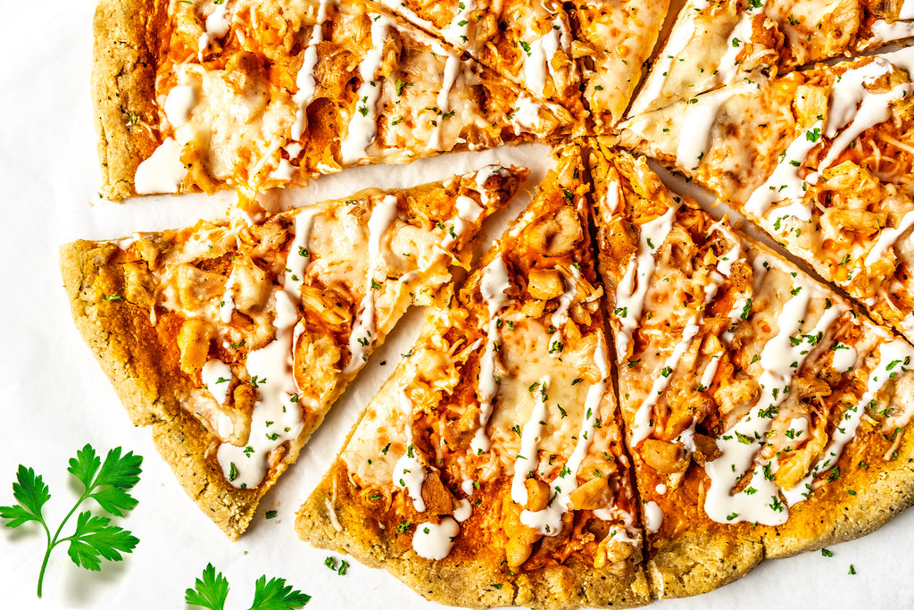 Buffalo Sauce Pizza with Chicken and Grain-Free Crust