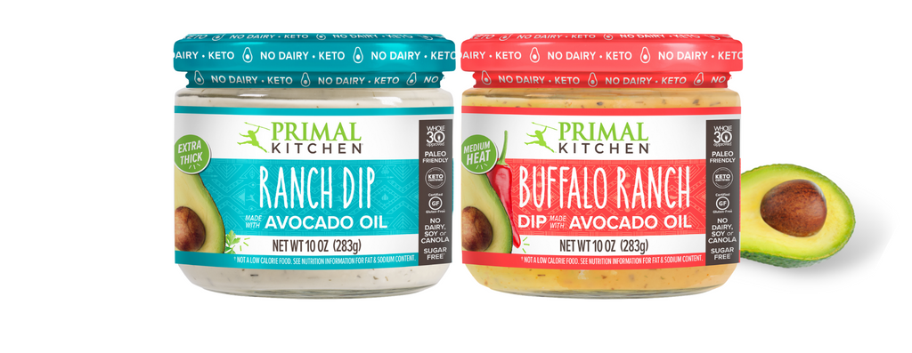 Ranch Dip and Buffalo Ranch Dip are next to each other with an avocado near by.