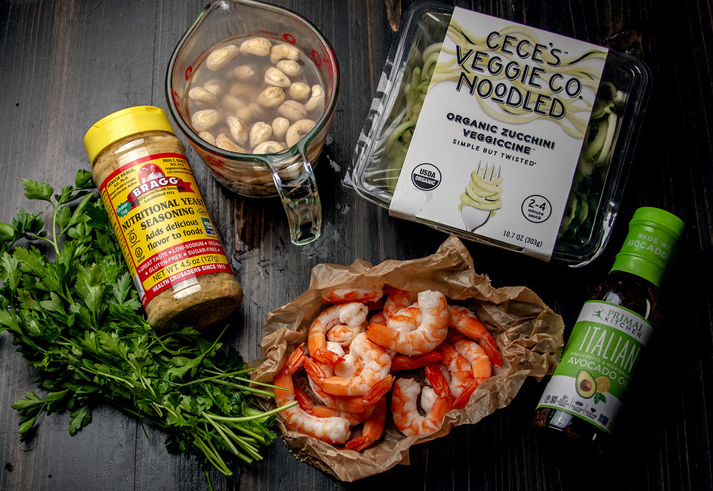 Dairy-Free, Whole30 Zoodle Primavera with Shrimp Recipe