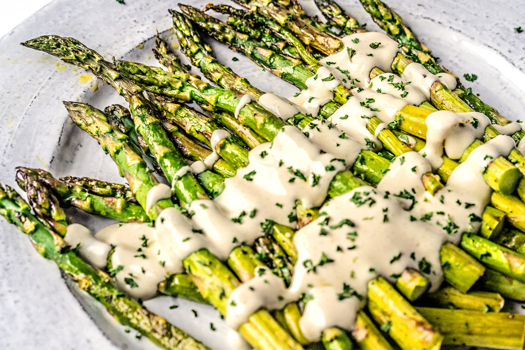 Keto Vegan Roasted Asparagus with Shortcut Vegan Hollandaise Sauce