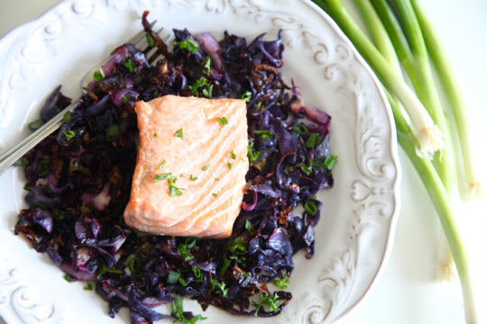 Sheet Pan Roasted Salmon and Red Cabbage Recipe