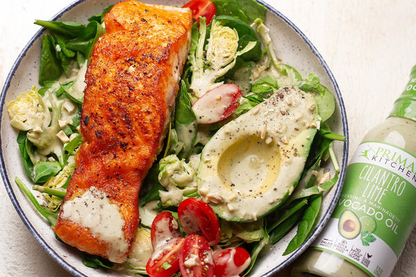 Spinach Salmon Salad with Cilantro Lime Dressing