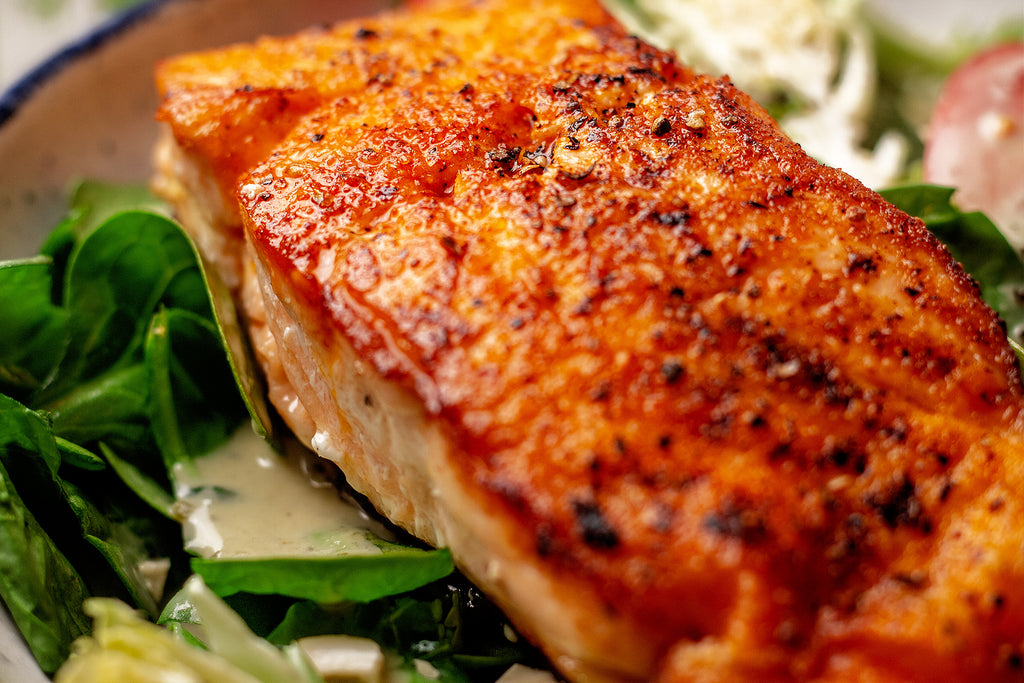 Spinach Salmon Salad with Cilantro Lime Dressing Recipe