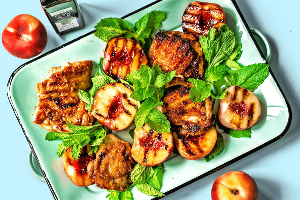 Grilled Chicken thighs with peaches and balsamic vinegar