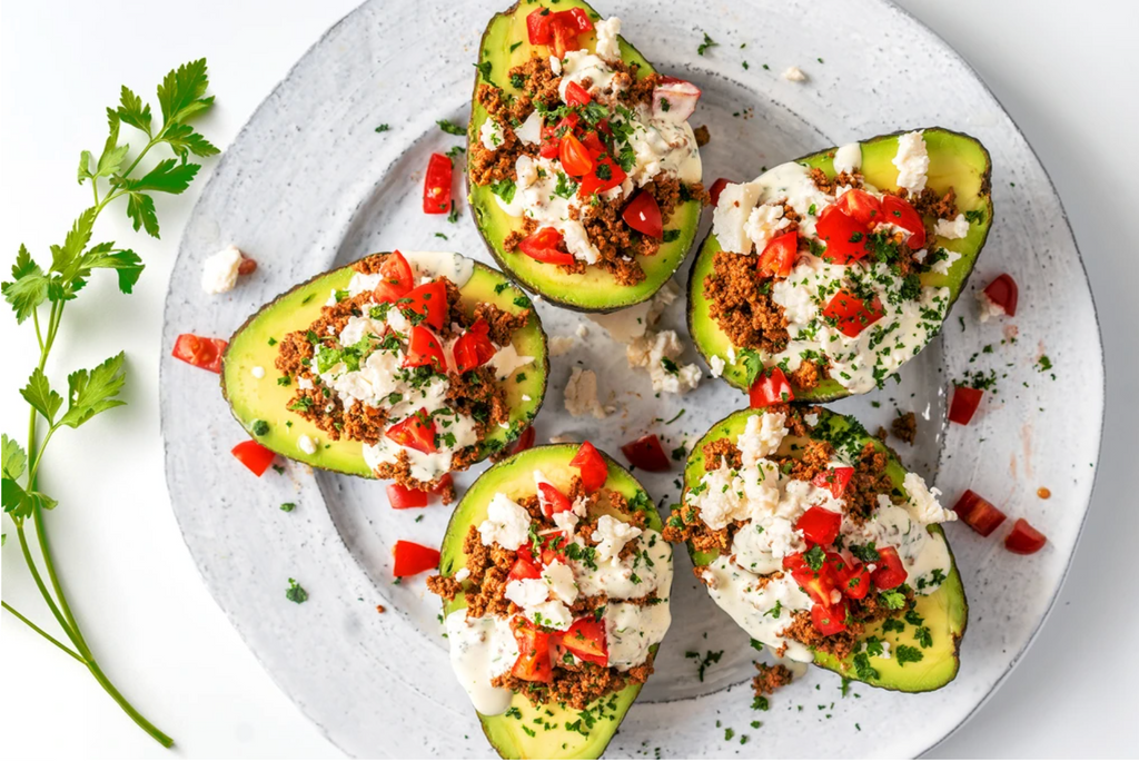 avocados stuffed with meat and veggies