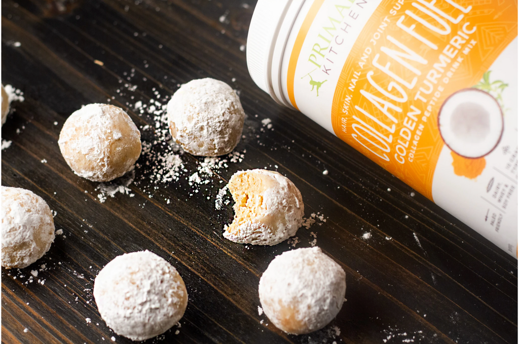 Keto Donut Holes next to a canister of collagen fuel