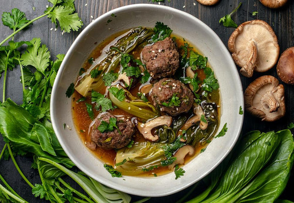 AirFryer Sesame Ginger Meatball Soup