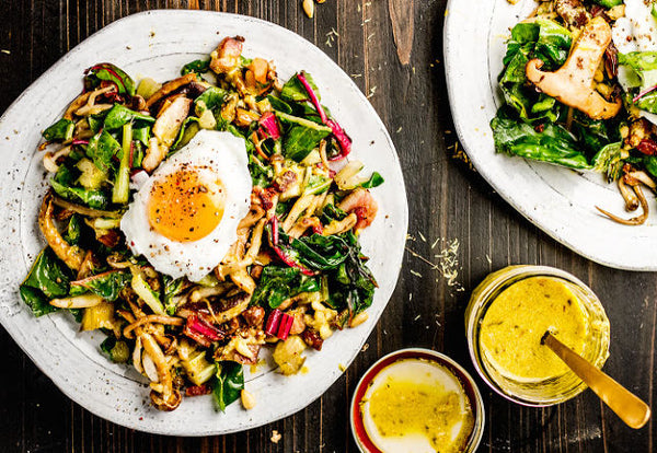 Warm Chard and Mushroom Salad with Bacon and Mustard Dressing