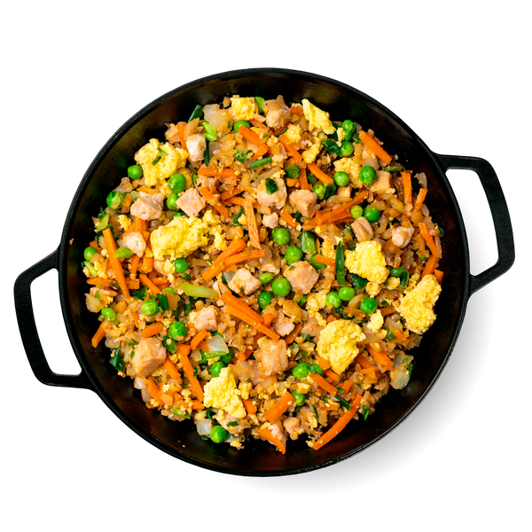 What's Inside Chicken Fried Riced Cauliflower Skillet