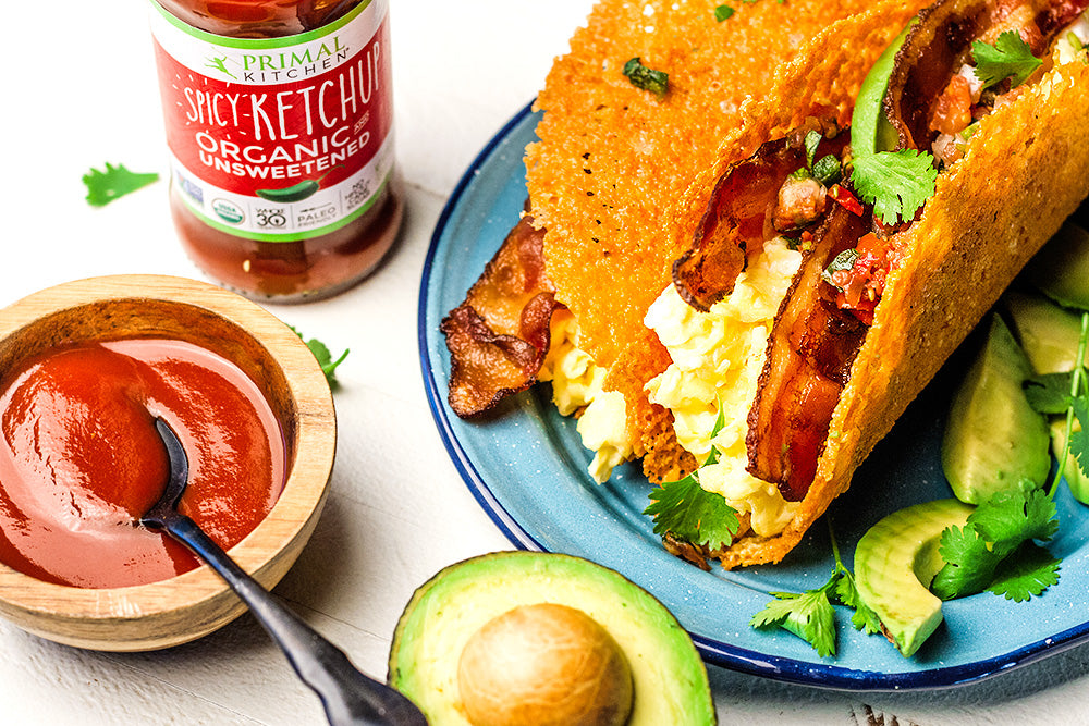 Keto Breakfast Tacos with Spicy Ketchup Sauce