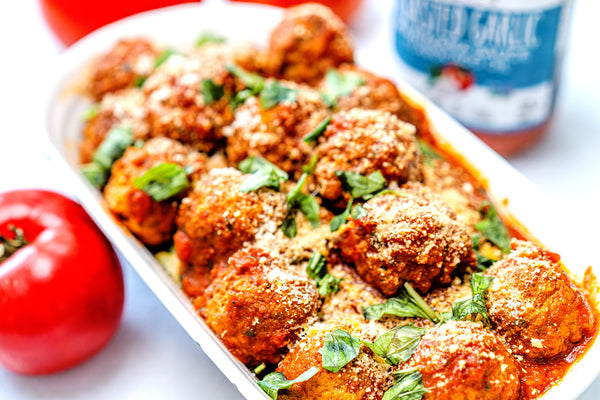 Whole30 Bison Meatballs with Roasted Garlic Marinara