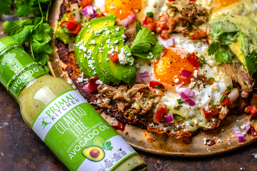 Breakfast Tostada with Cilantro Lime Avocado Dressing