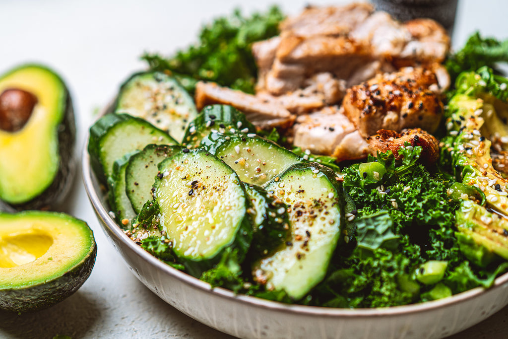 Keto Kale Salad with Avocado Oil & Vinegar Dressing