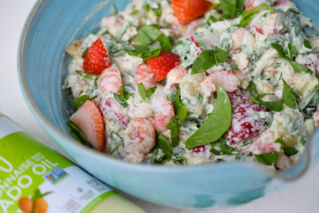 Close up shot of summer shrimp salad with mayo