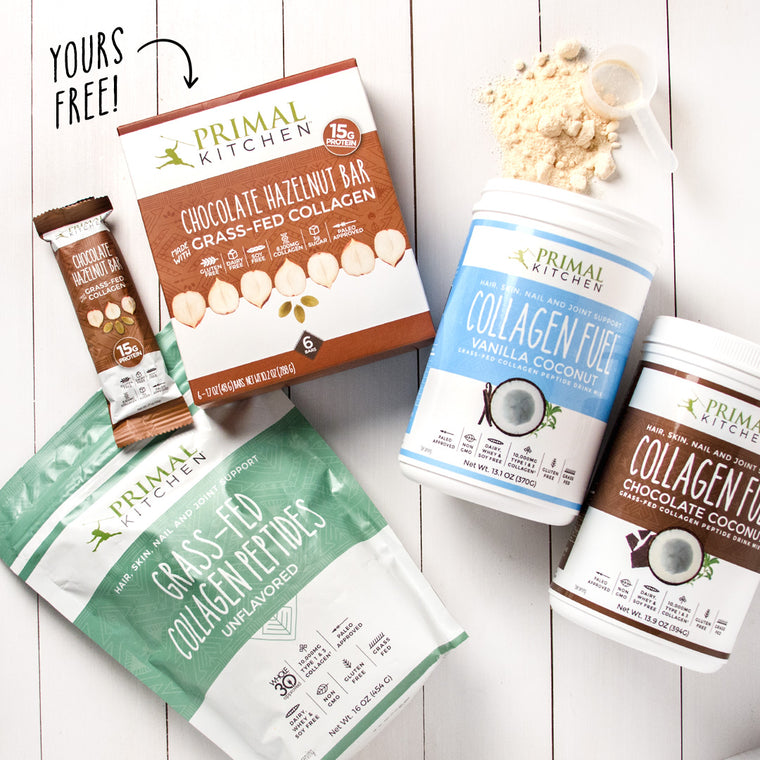 Collagen Fuel™ - Vanilla or Chocolate + 6-Pack of Chocolate Hazelnut Collagen Bars