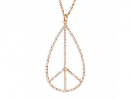 Gold Teardrop Peace Sign Charm