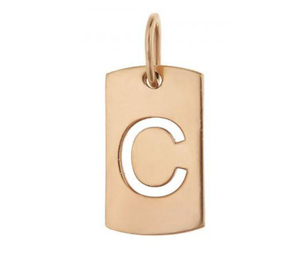 14k Gold Initial Tag