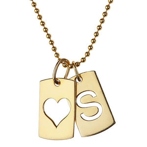 Dog Tag Inital Necklace