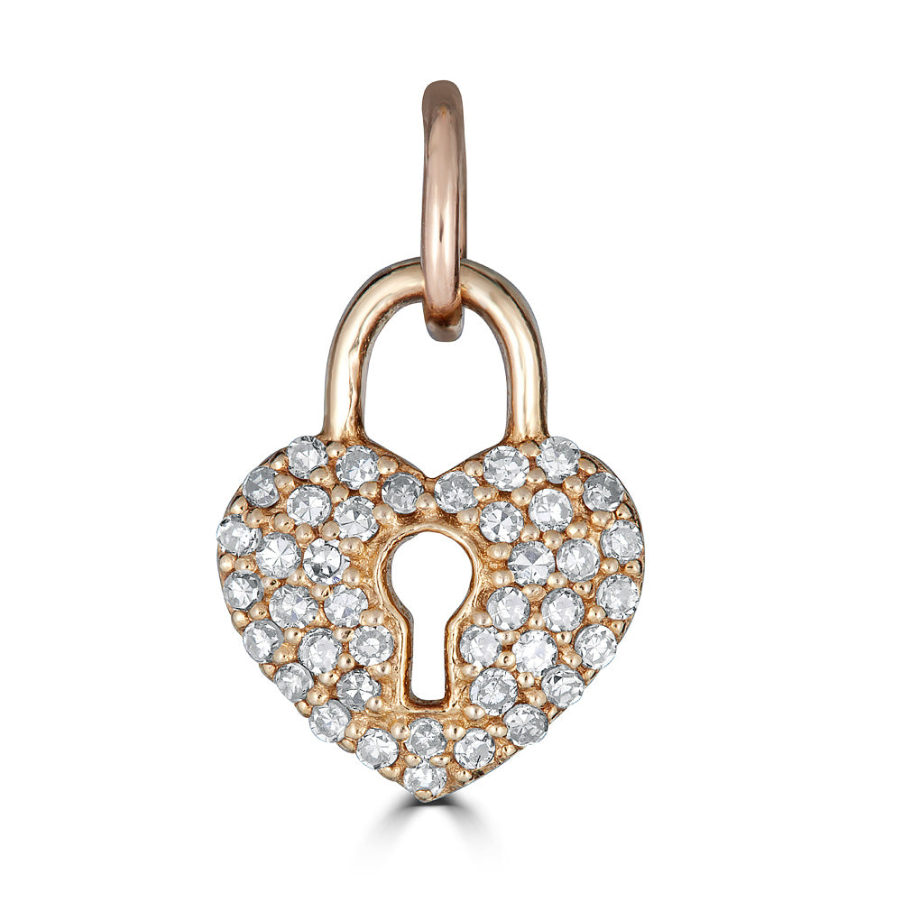 Heart charm with keyhole
