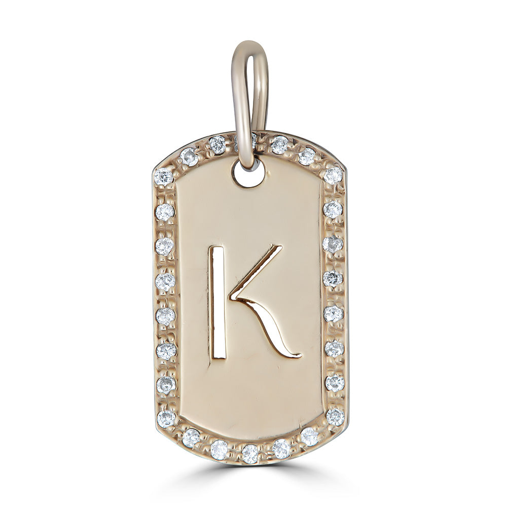 Letter Dog Tag Diamond Frame