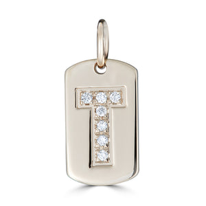 Diamond Letter Dog Tag