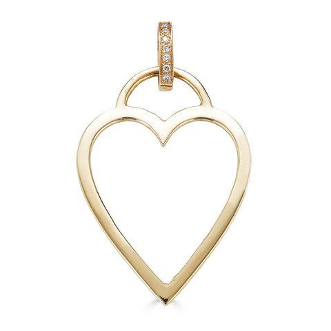 Open Heart Charm with Diamonds