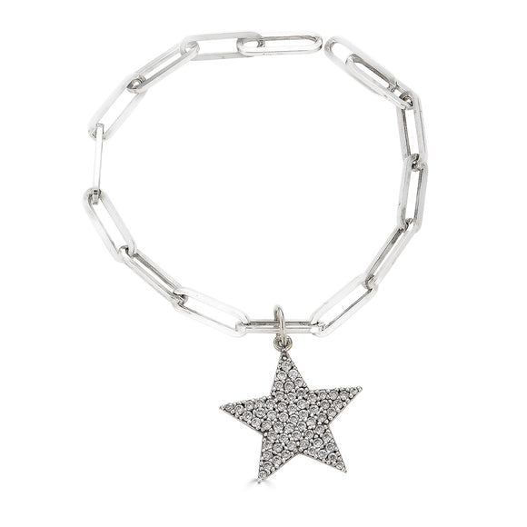 Paperclip Bracelet with Diamond Star