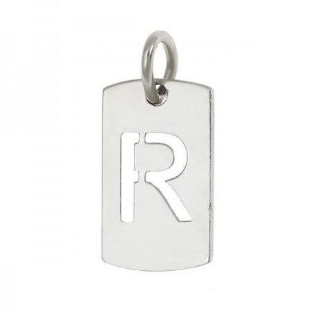 Sterling Silver Initial Cut Out Dog Tag