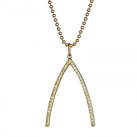 Large Diamond Pave Wishbone