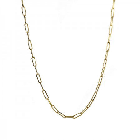 Gold Paperclip Link Chain Rectangular