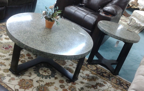 2 Pc Round Marble Coffee & End Table