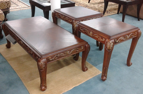3 Pc Wood Carved Coffee & End Table Set