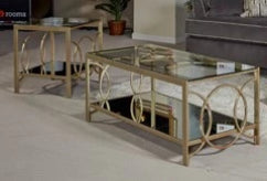 2 Pc Glass Coffee & End Table Set