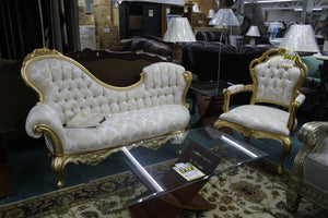 Polrey Gold 2 Pc Chaise + Chair