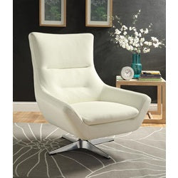 White Eudora Swivel Accent Chair