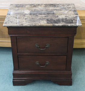 Marble Top Two Drawer Night Stand
