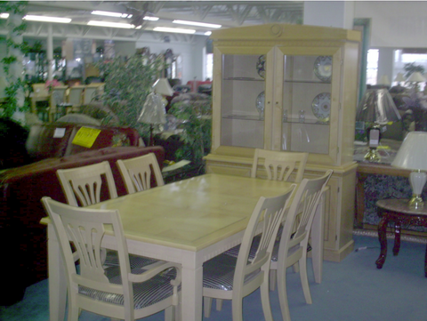 Table, 6 Chairs and 2pc China Set