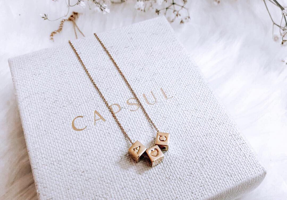 Custom Block & Sterling Silver Block Necklace from Capsul Jewelry