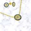 Blue Evil Eye Necklace and Stud Earrings Set