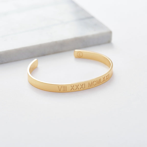 Custom Medium Classic Cuff (Roman Numeral/Gold) from Capsul Jewelry