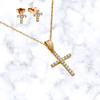 Pave Classic Cross Necklace and Stud Earrings Set