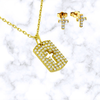 Pave Cutout Cross Necklace and Earrings Set