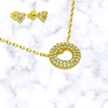 Pave Cutout Heart Necklace + Stud Earrings Set