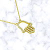 Pave Hamsa Cutout Necklace