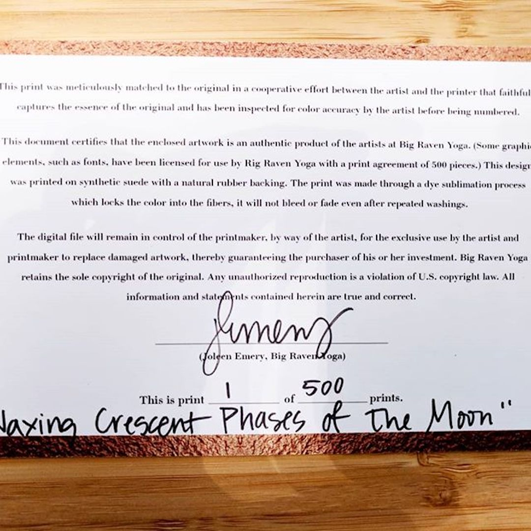Big Raven Yoga certificate of authenticity, number 1 of 500 for the 'Waxing Crescent Phases of the Moon' yoga mat