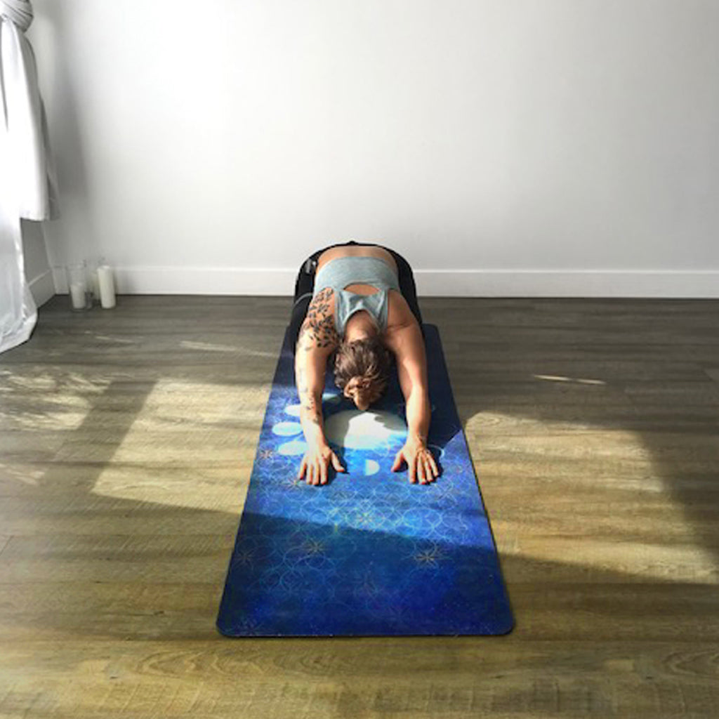 Big Raven Yoga |  Lunar Geometry Machine-Washable Microfiber Suede Yoga Mat