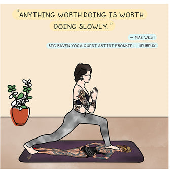 Big Raven Yoga Anything Worth Doing Doodle Card