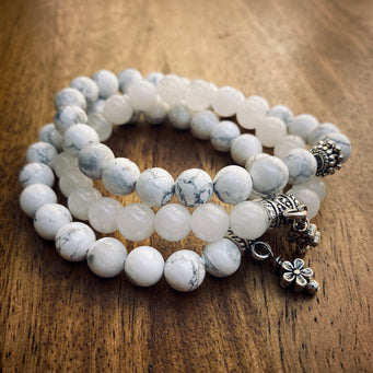 Big Raven Yoga White Happy Stack Bracelet