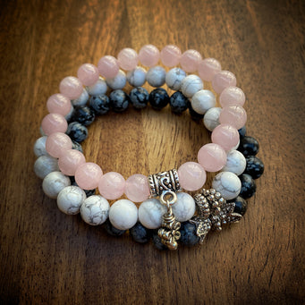 Big Raven Yoga Black-and-White-and-Pink Happy Stack Bracelet