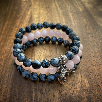 Big Raven Yoga Black-and-Pink Happy Stack Bracelet